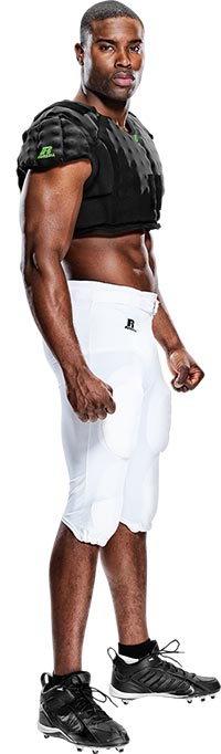 Football player wearing Russell Athletic® CarbonTek™ Shoulder Pad system compression vest