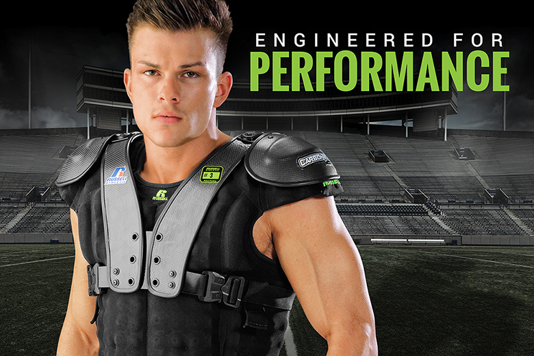 Designed for Speed - CarbonTek™ Carbon Fiber Football Shoulder Pads by Russell Athletic